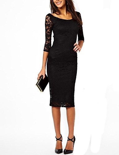Ladies Purple/Black Lace Hollowed-out Bodycon Long Dress